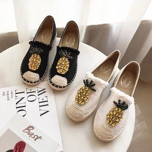 Shoes - 2019 New Women Espadrilles Flats Crystal Pineapple